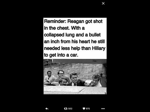 Hillary needed more help than shot Reagan