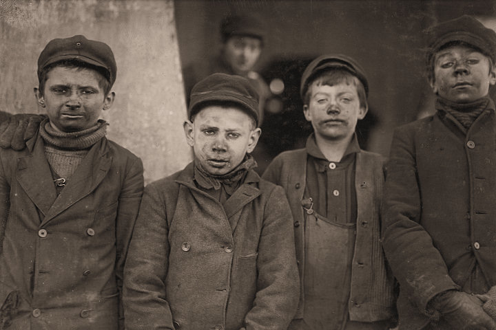 Breaker boys (their job was to separate impurities from coal by hand) at the Hughestown Borough Pennsylvania Coal Company.