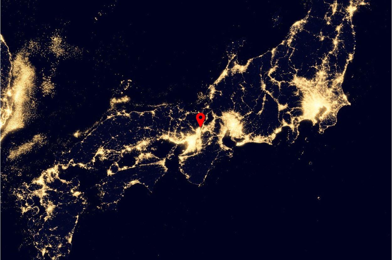 Kyoto on a night satellite image of Japan