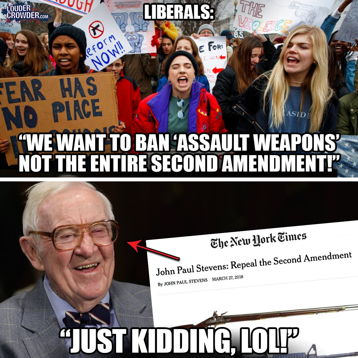Second Amendment Left finally admits it wants to repeal Justice Stevens