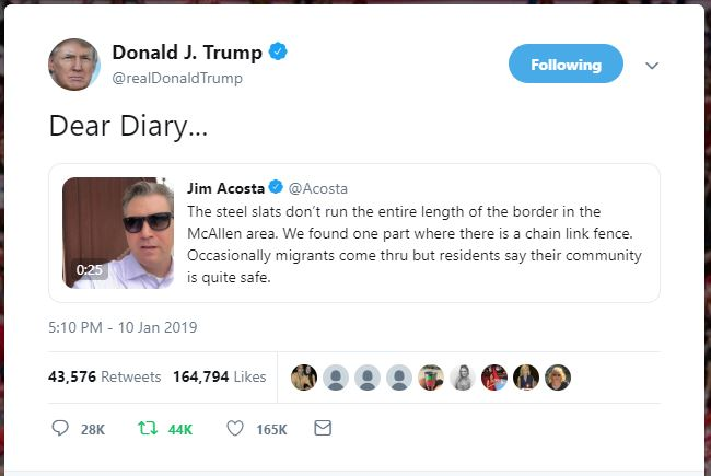 Acosta Donald Trump Dear Diary Border Wall