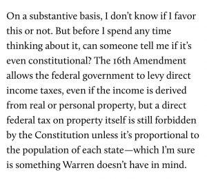 Elizabeth Warren Tax Plan Unconstitutional