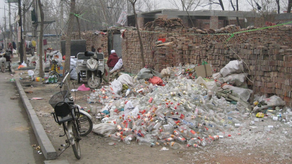 Trash on the street in China