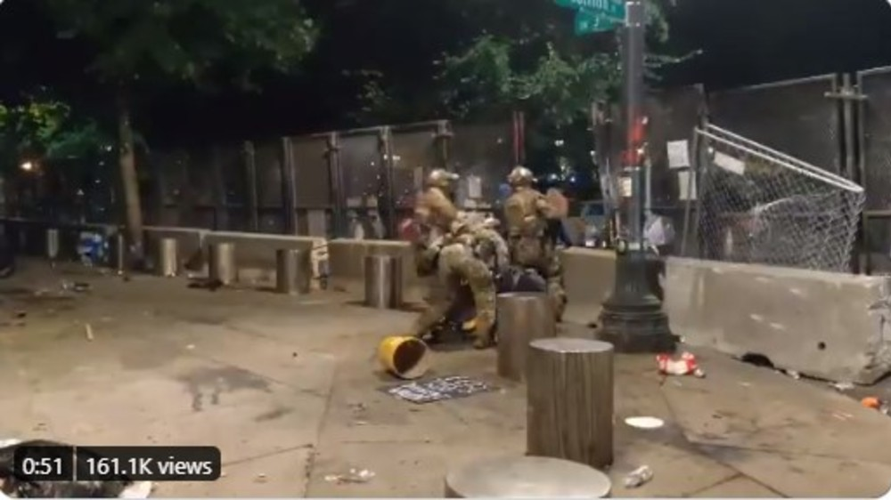 Federal police officers protecting Portland courthouse